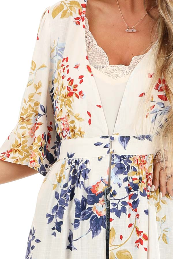 Ivory Floral Print Long Kimono with Double Button Closure detail