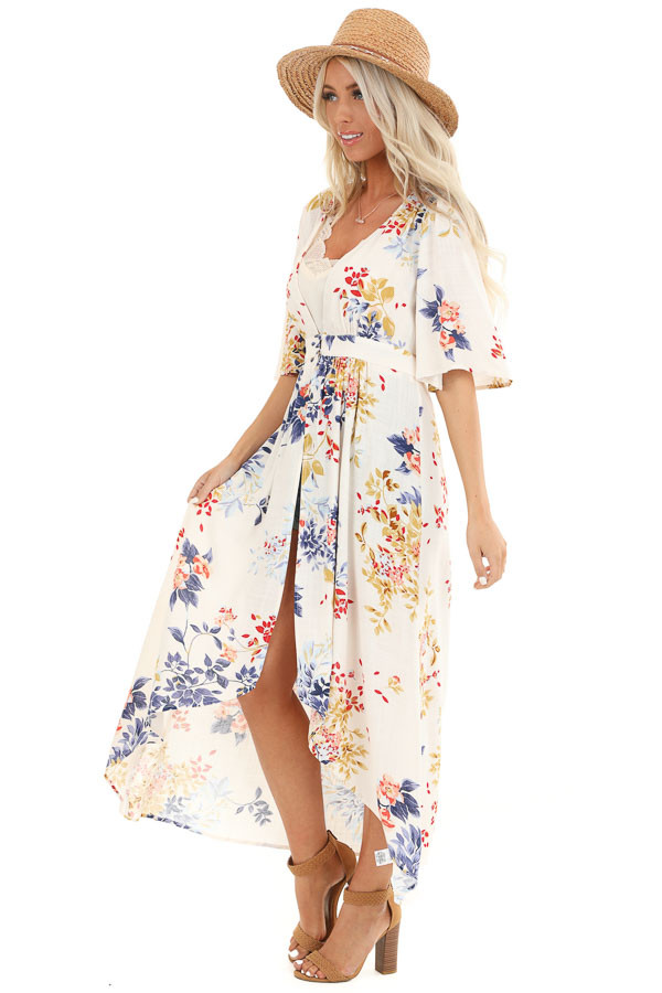 Ivory Floral Print Long Kimono with Double Button Closure side full body