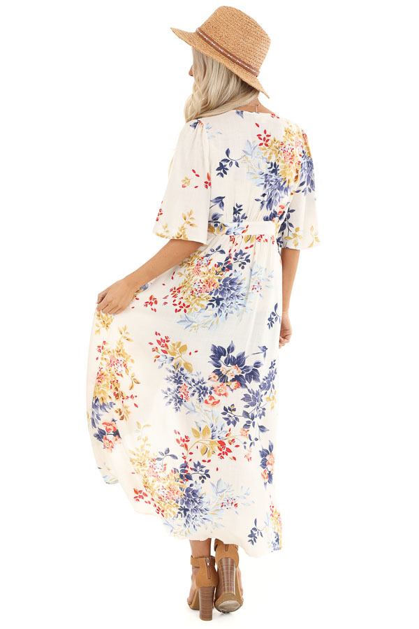 Ivory Floral Print Long Kimono with Double Button Closure back full body