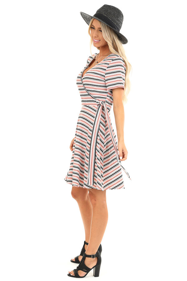 Coral Striped Surplice Swing Dress with Side Waist Tie side full body