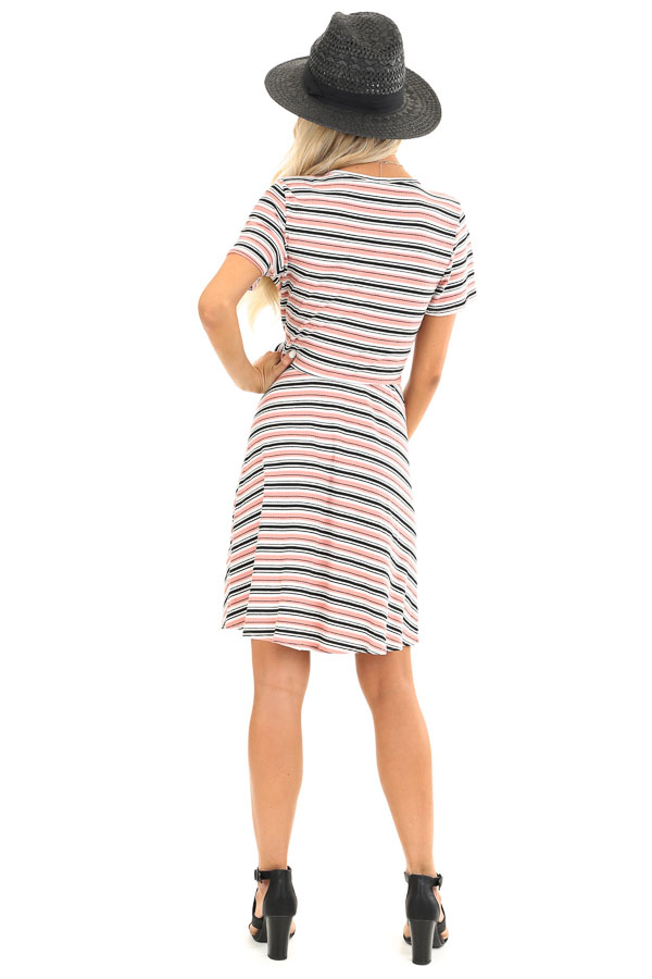 Coral Striped Surplice Swing Dress with Side Waist Tie back full body