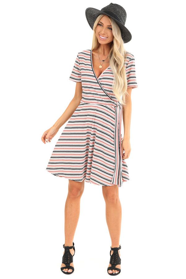 Coral Striped Surplice Swing Dress with Side Waist Tie front full body