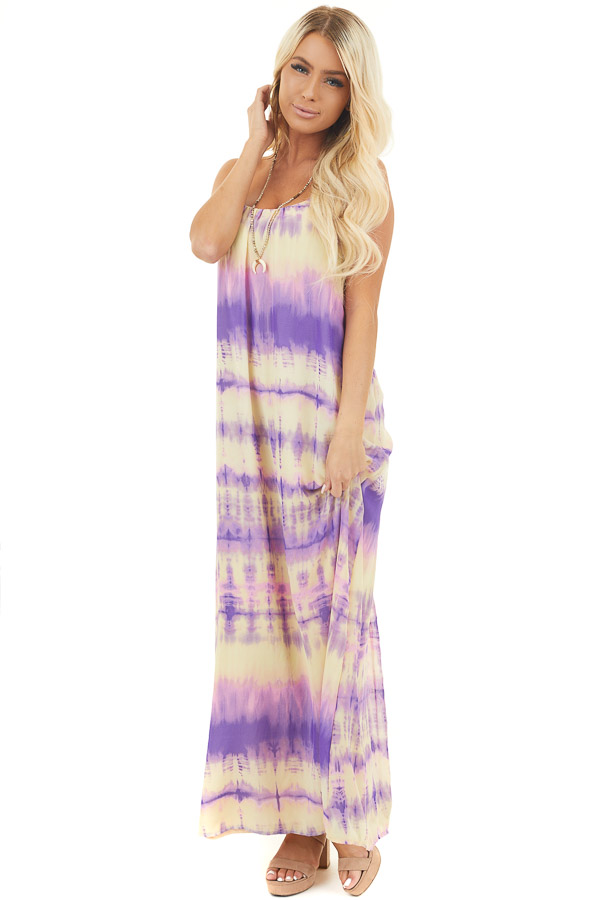 Lavender and Banana Tie Dye Spaghetti Strap Maxi Dress