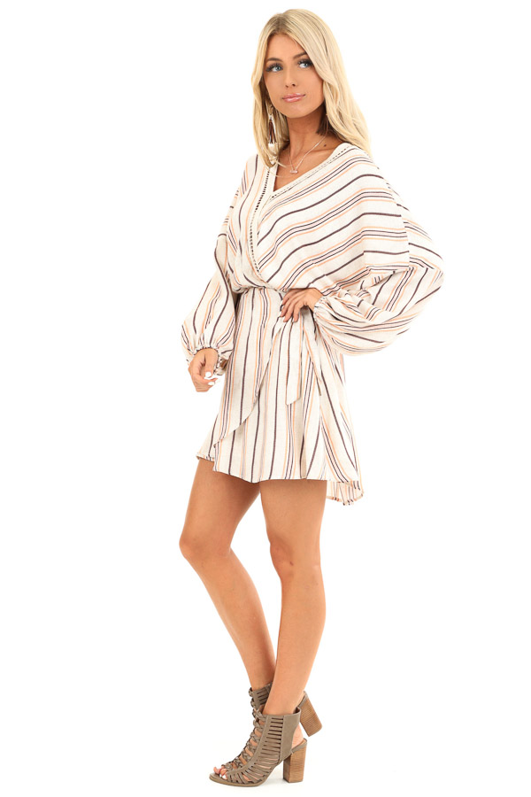 Cream Striped Surplice Short Dress with Crochet Details side full body