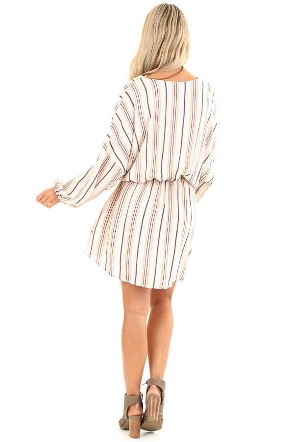 Cream Striped Surplice Short Dress with Crochet Details back full body