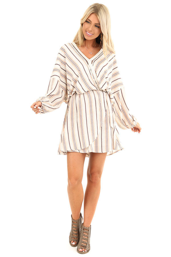 Cream Striped Surplice Short Dress with Crochet Details front full body