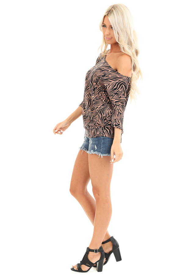 Mocha and Jet Black Zebra Print Off the Shoulder Dolman Top side full body