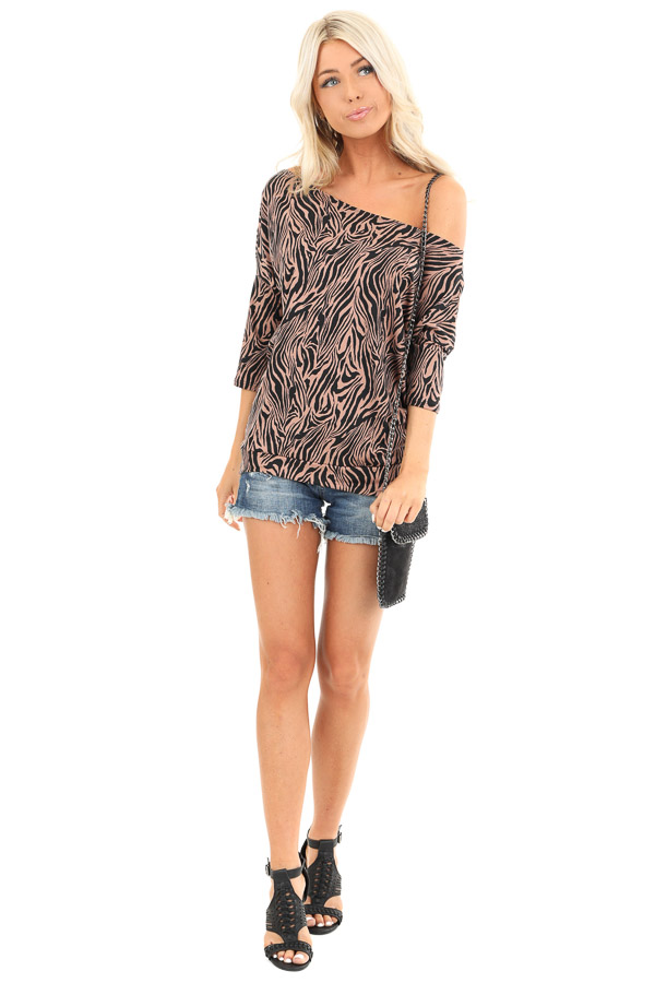 Mocha and Jet Black Zebra Print Off the Shoulder Dolman Top front full body
