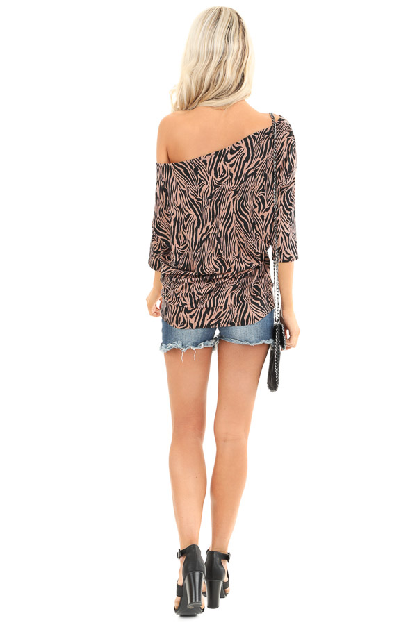 Mocha and Jet Black Zebra Print Off the Shoulder Dolman Top back full body