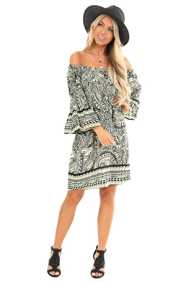 Cream and Raven Black Floral Print Off the Shoulder Dress front full body