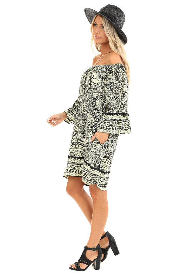 Cream and Raven Black Floral Print Off the Shoulder Dress side full body