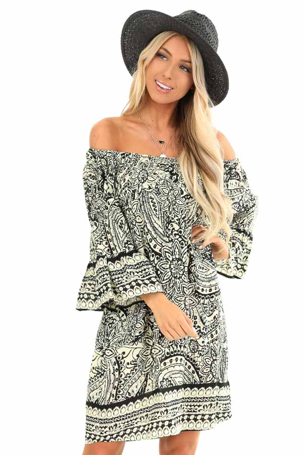 Cream and Raven Black Floral Print Off the Shoulder Dress front close up