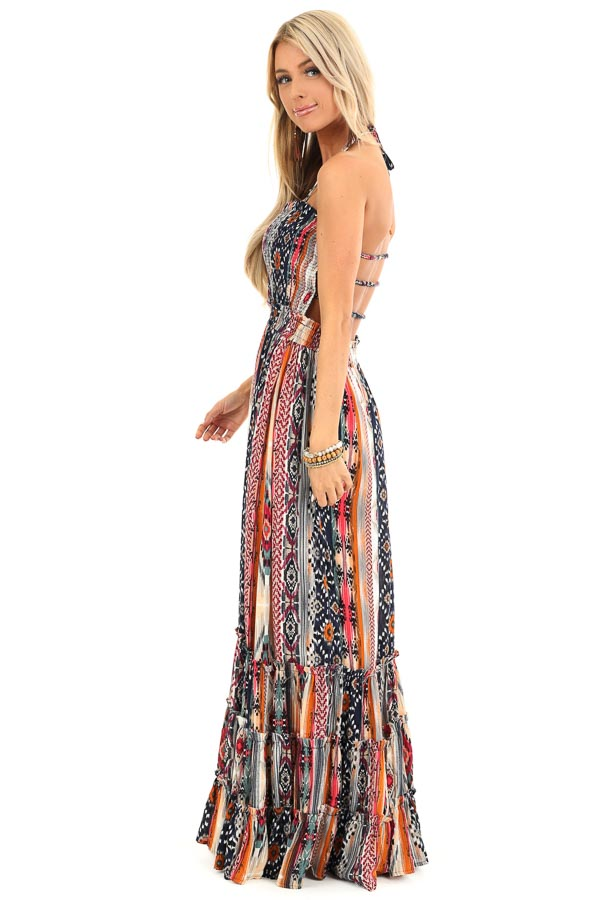 Multi Color Aztec Print Maxi Dress with Lace Up Back Detail back full body