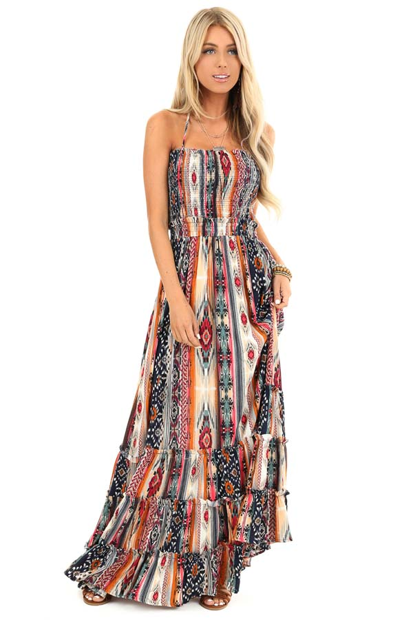 Multi Color Aztec Print Maxi Dress with Lace Up Back Detail front full body