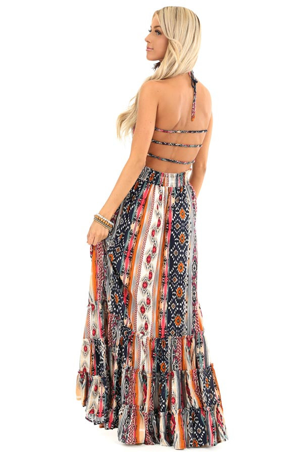 Multi Color Aztec Print Maxi Dress with Lace Up Back Detail side full body