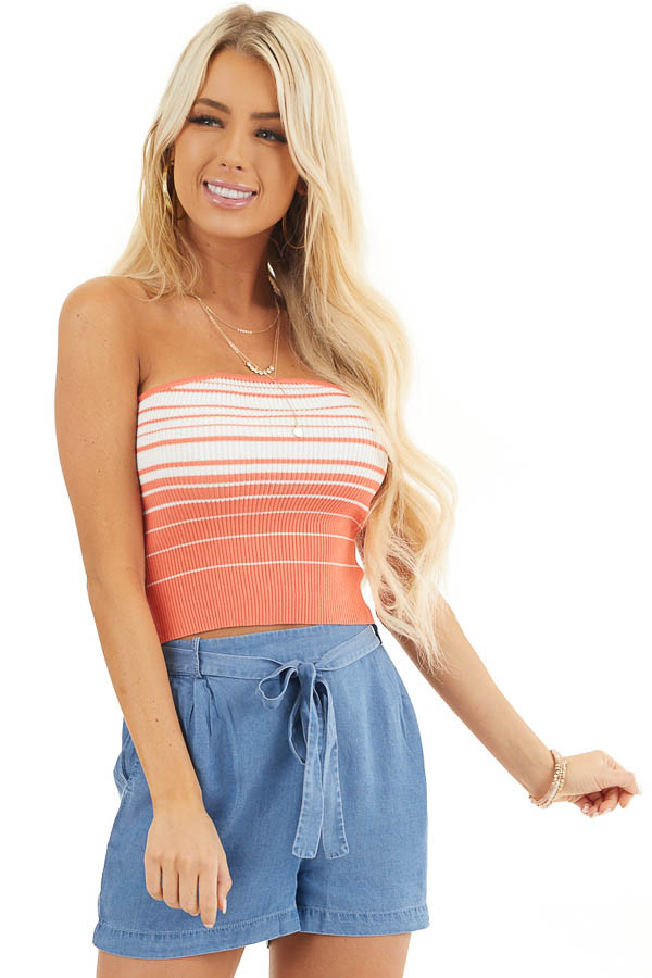 Coral and Coconut White Striped Ribbed Knit Tube Top front close up