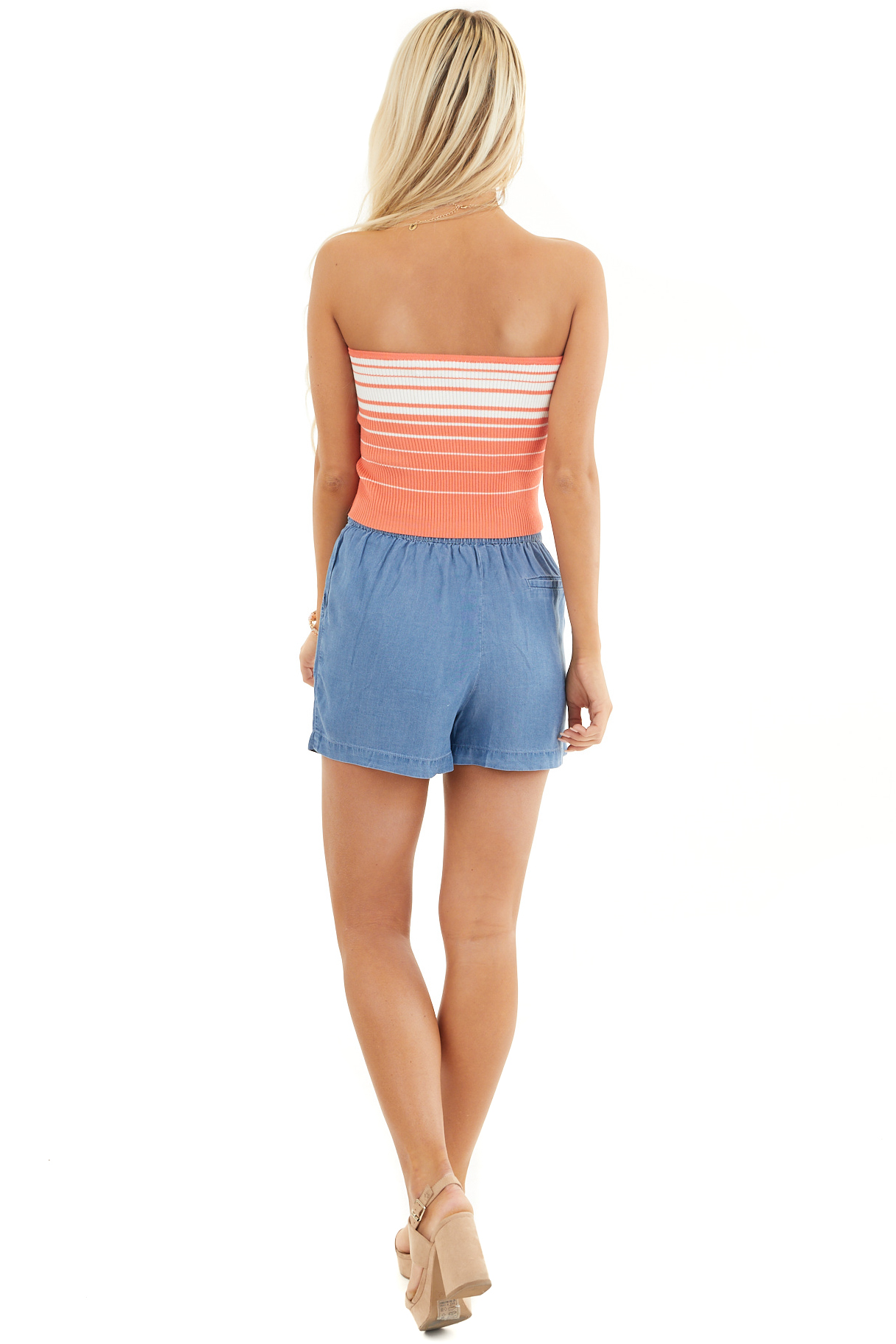 Coral and Coconut White Striped Ribbed Knit Tube Top back full body