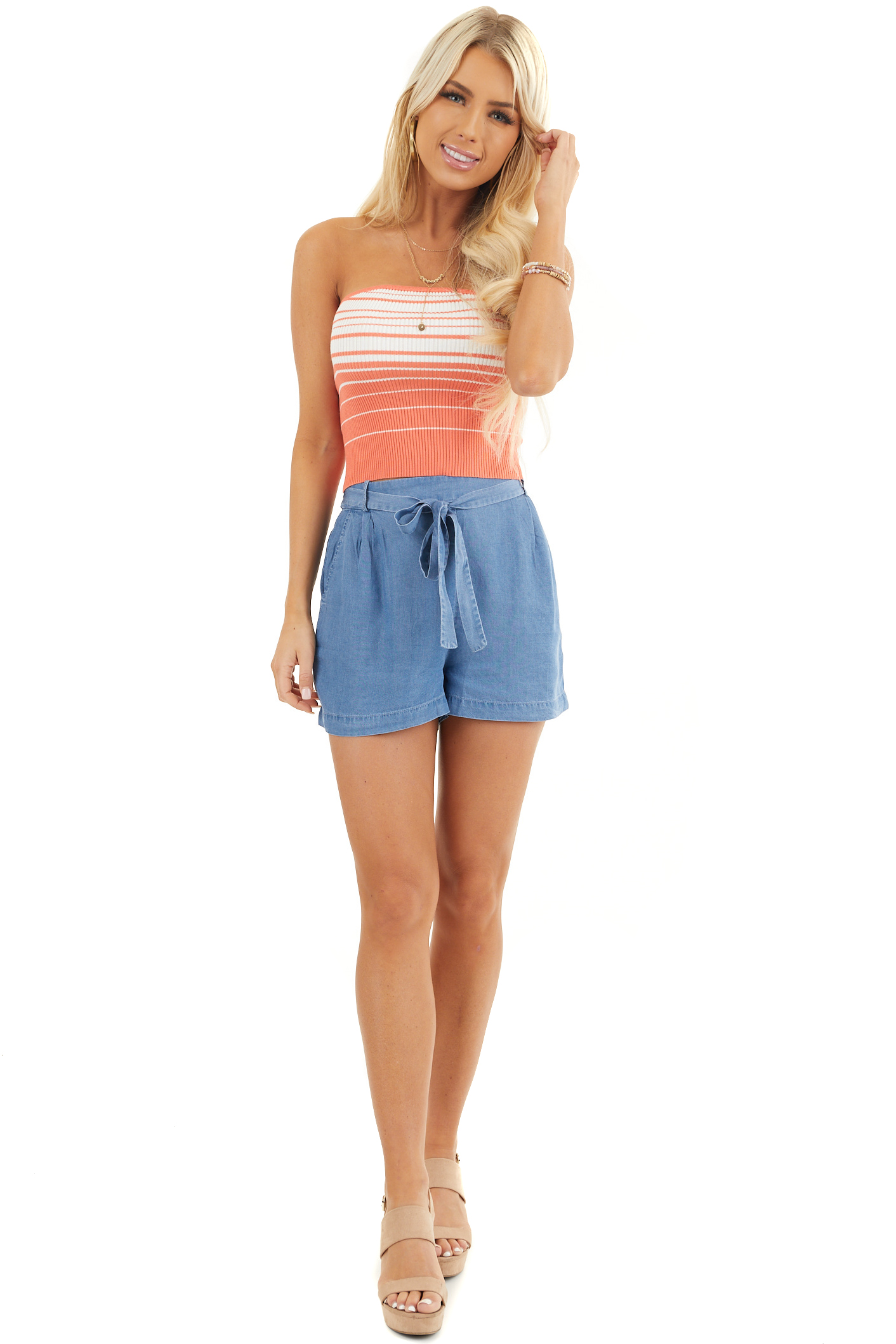 Coral and Coconut White Striped Ribbed Knit Tube Top front full body