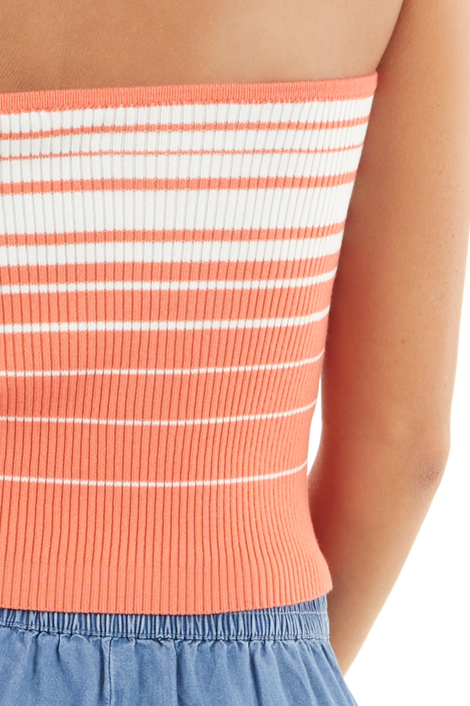 Coral and Coconut White Striped Ribbed Knit Tube Top detail
