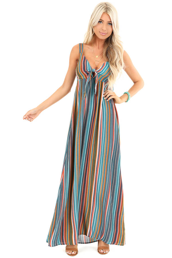 Aqua Striped Empire Waist Maxi Dress with Bust Tie front full body