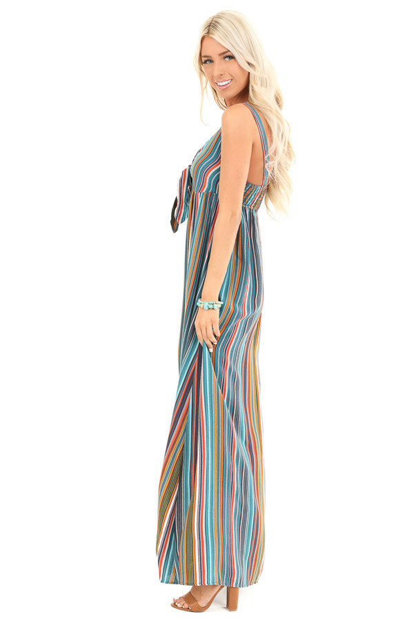 Aqua Striped Empire Waist Maxi Dress with Bust Tie side full body