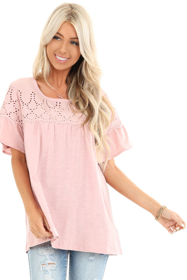 Pale Mauve Top with Short Bell Sleeves and Eyelet Details front close up