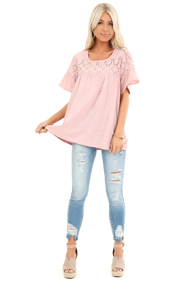Pale Mauve Top with Short Bell Sleeves and Eyelet Details front full body