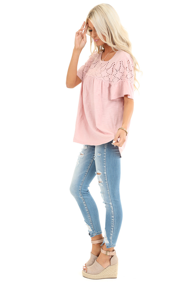 Pale Mauve Top with Short Bell Sleeves and Eyelet Details side full body