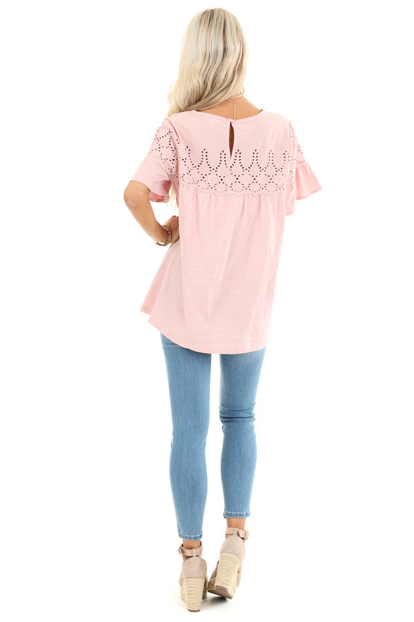 Pale Mauve Top with Short Bell Sleeves and Eyelet Details back full body