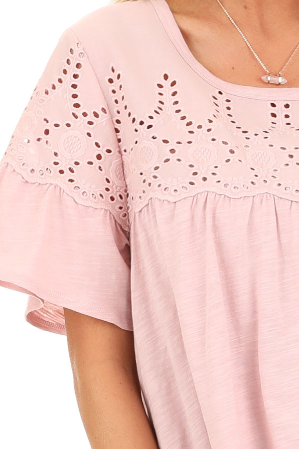 Pale Mauve Top with Short Bell Sleeves and Eyelet Details detail