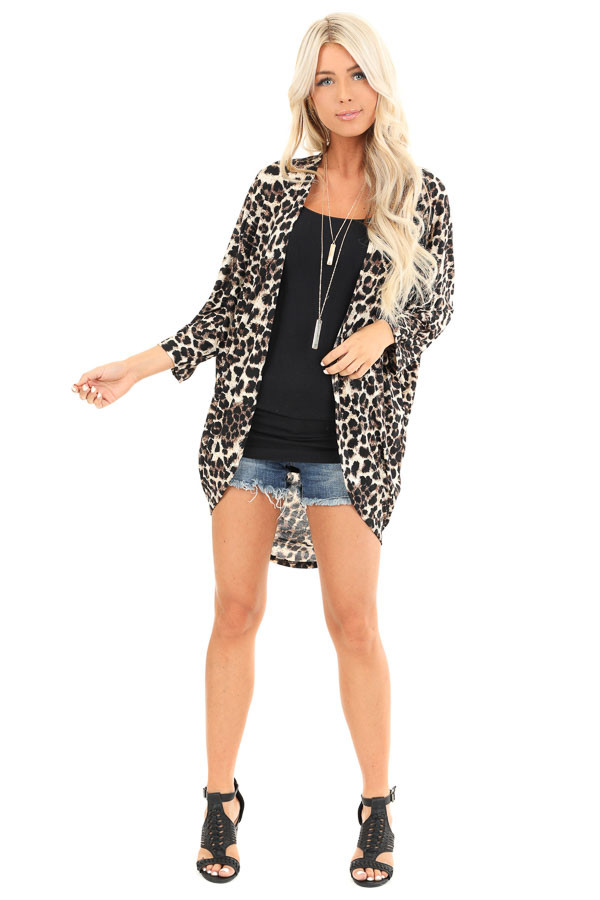 Cream Leopard Print Open Front 3/4 Sleeve Kimono front full body
