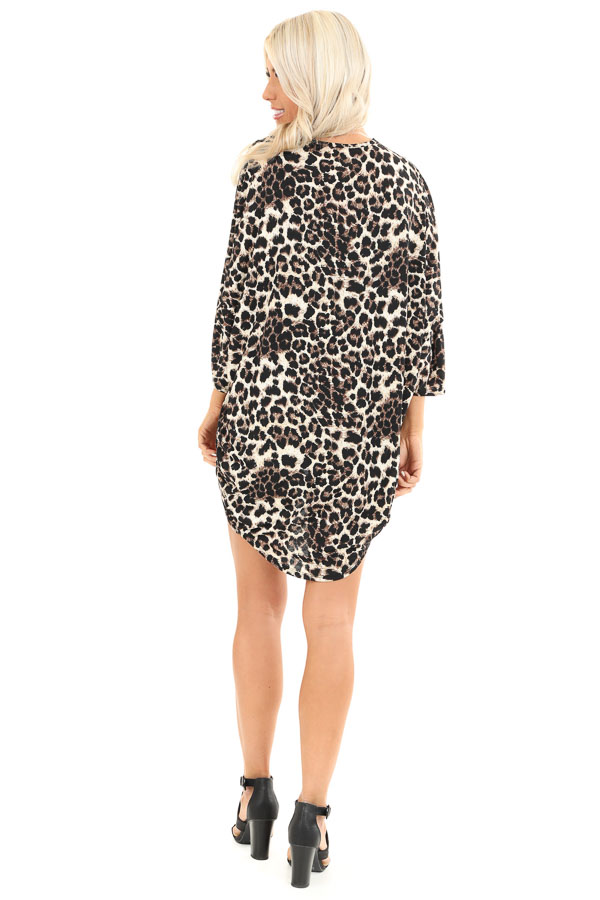 Cream Leopard Print Open Front 3/4 Sleeve Kimono back full body
