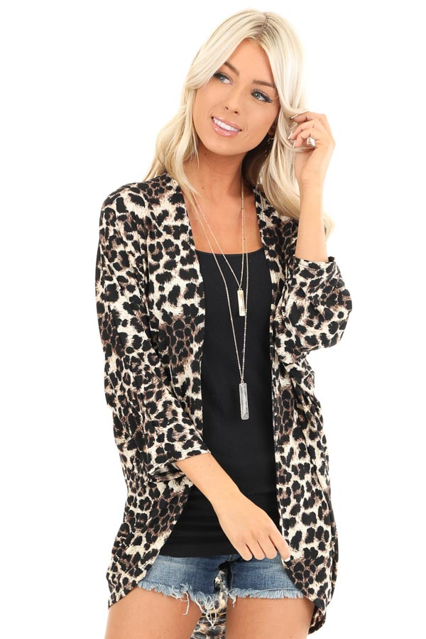 Cream Leopard Print Open Front 3/4 Sleeve Kimono front close up