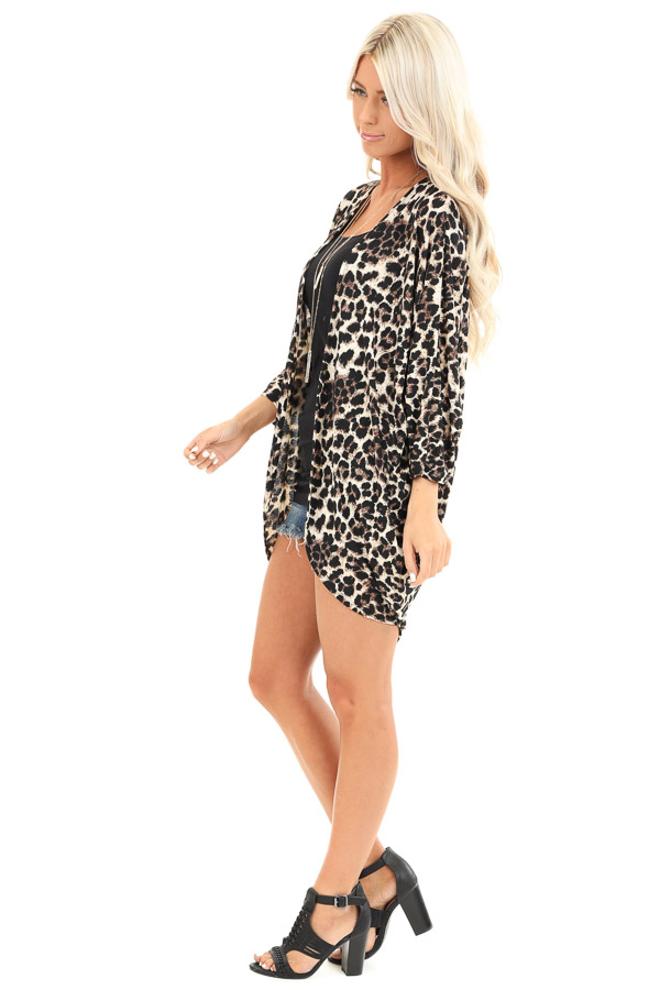 Cream Leopard Print Open Front 3/4 Sleeve Kimono side full body