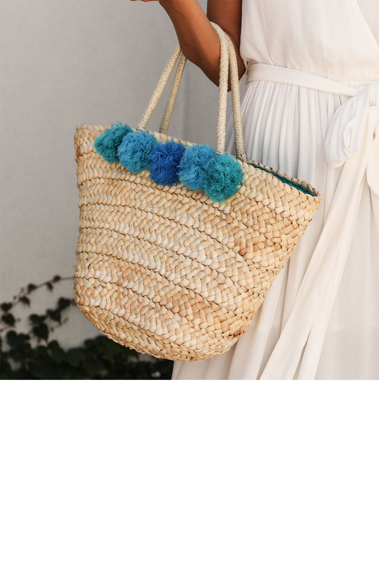 Tan Straw Tote Bag with Blue Monochromatic Pom Details