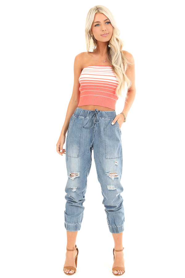 Medium Wash Distressed Denim Joggers with Waist Tie Detail front full body