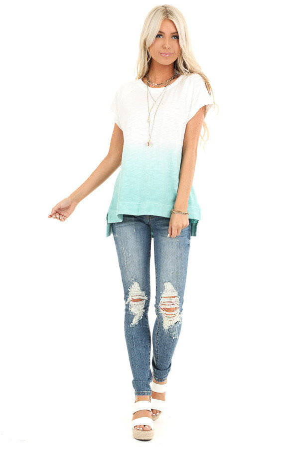 Pearl and Aqua Ombre Short Sleeve Top with High Low Hemline front full body