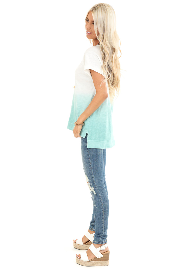 Pearl and Aqua Ombre Short Sleeve Top with High Low Hemline back full body