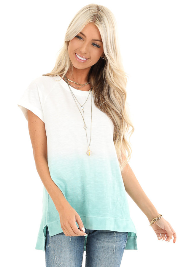 Pearl and Aqua Ombre Short Sleeve Top with High Low Hemline front close up