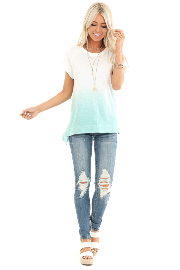 Pearl and Aqua Ombre Short Sleeve Top with High Low Hemline side full body