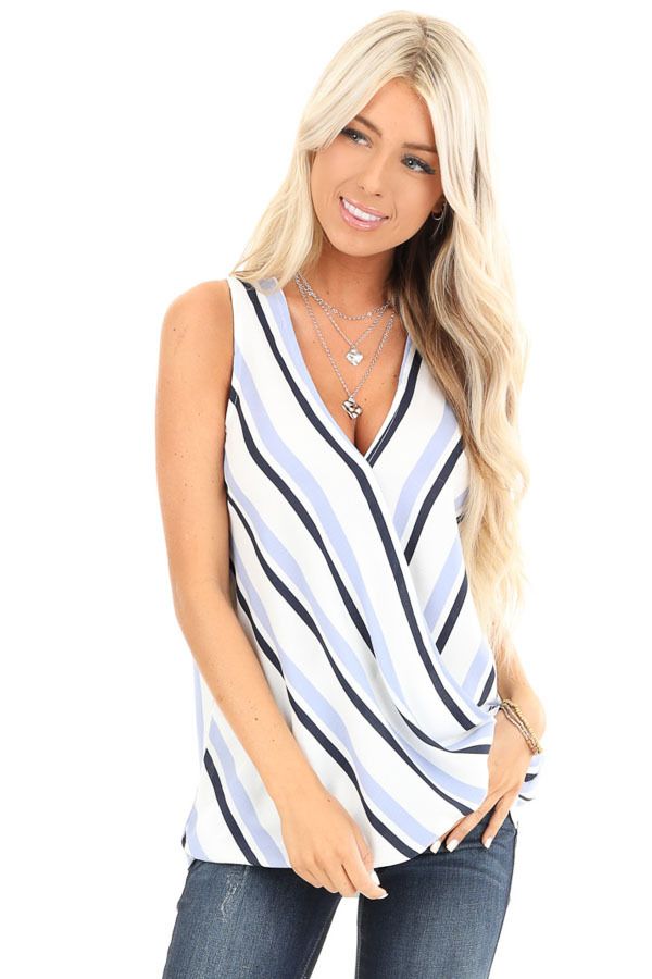 Periwinkle and Navy Striped Surplice Sleeveless Top front close up