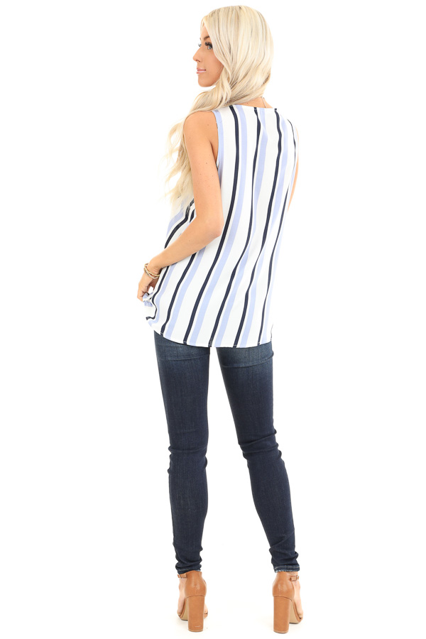 Periwinkle and Navy Striped Surplice Sleeveless Top back full body