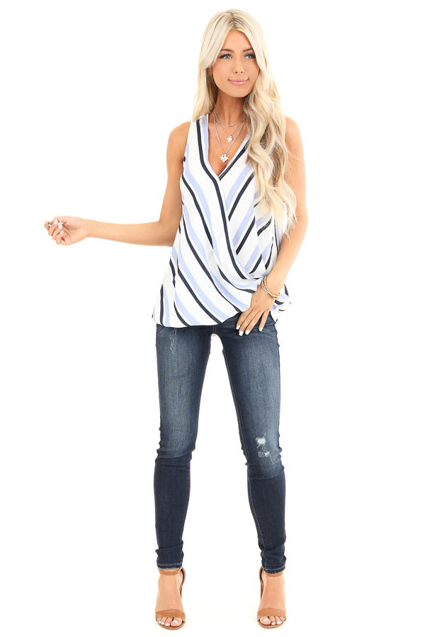 Periwinkle and Navy Striped Surplice Sleeveless Top front full body
