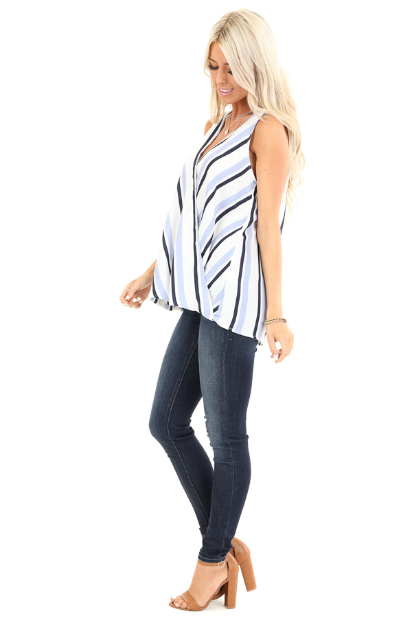 Periwinkle and Navy Striped Surplice Sleeveless Top side full body