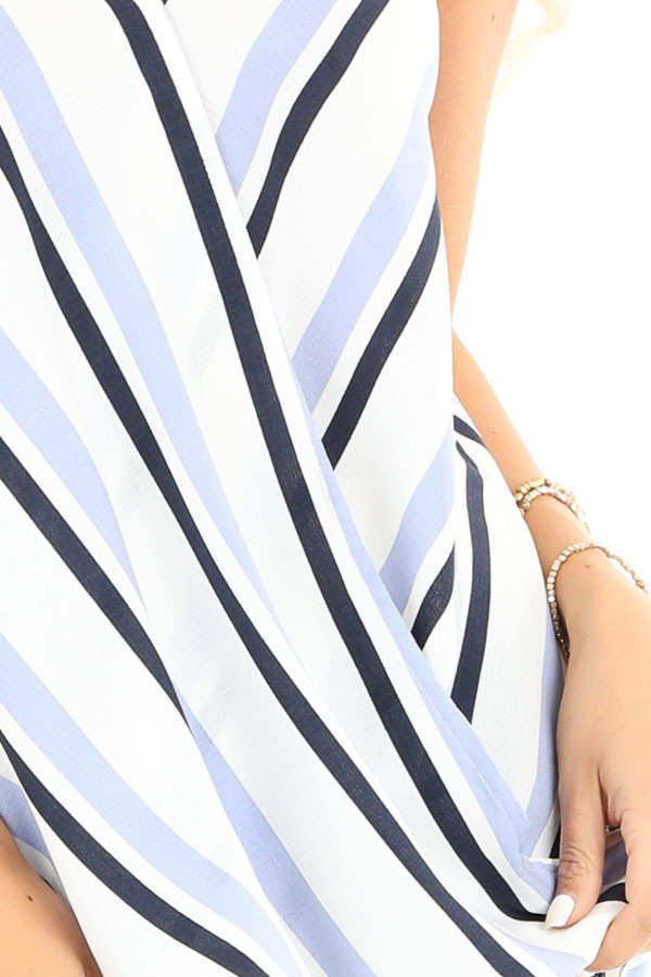 Periwinkle and Navy Striped Surplice Sleeveless Top detail