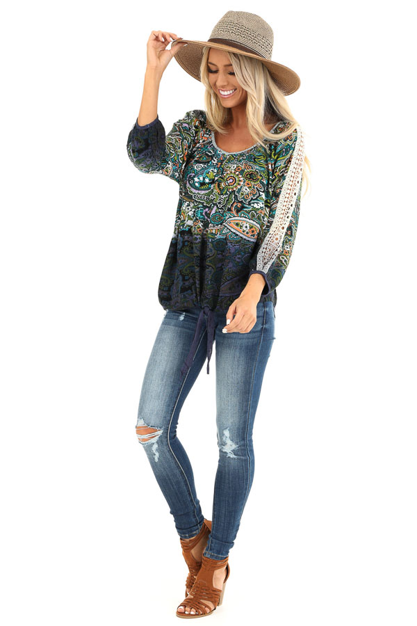 Multi Color Paisley Print Top with Sheer Crochet Details front full body