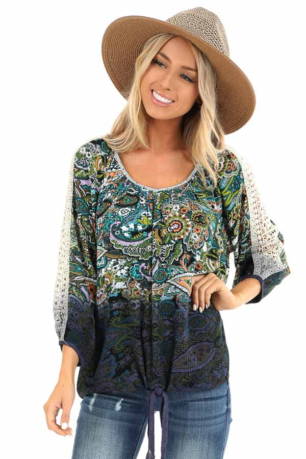 Multi Color Paisley Print Top with Sheer Crochet Details front close up
