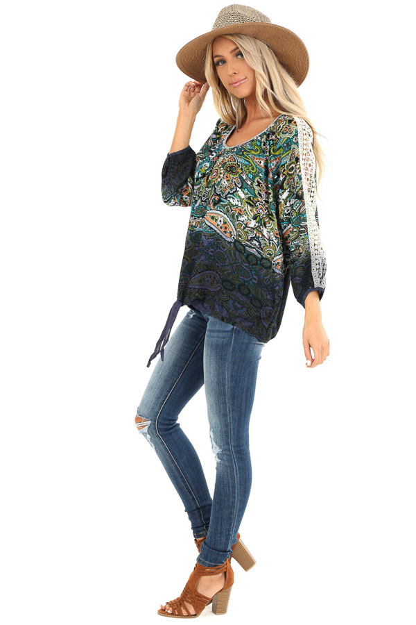 Multi Color Paisley Print Top with Sheer Crochet Details side full body