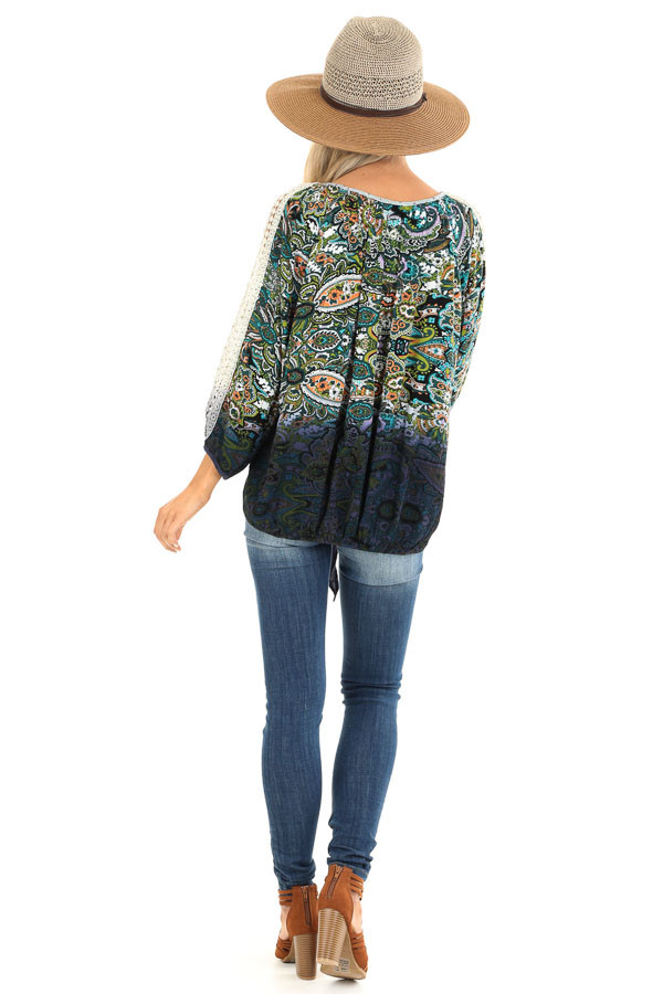 Multi Color Paisley Print Top with Sheer Crochet Details back full body
