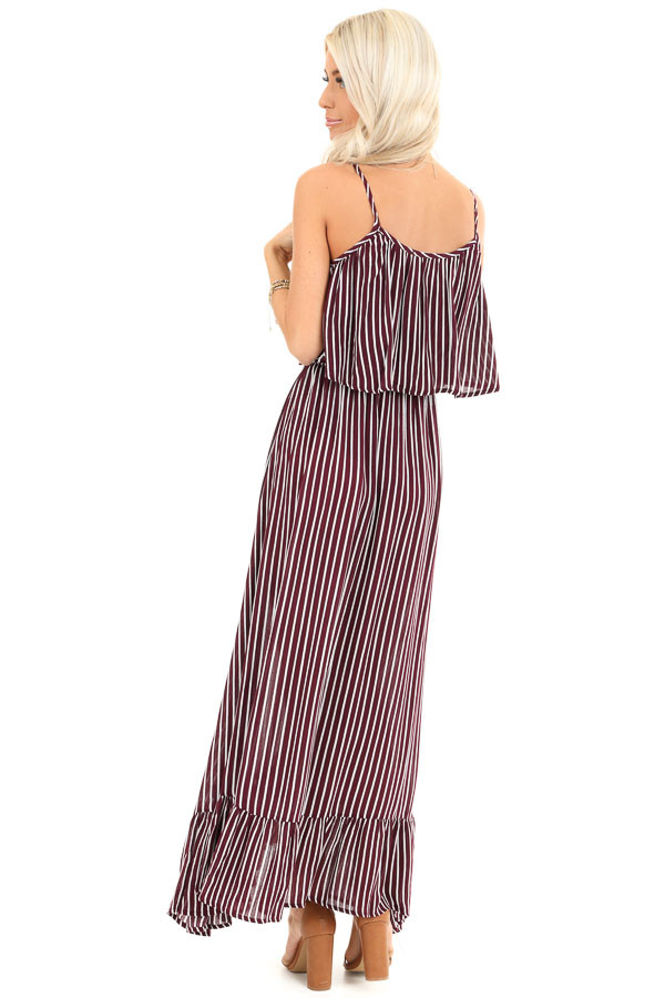 Burgundy and Ivory Striped Maxi Dress with Overlay back full body